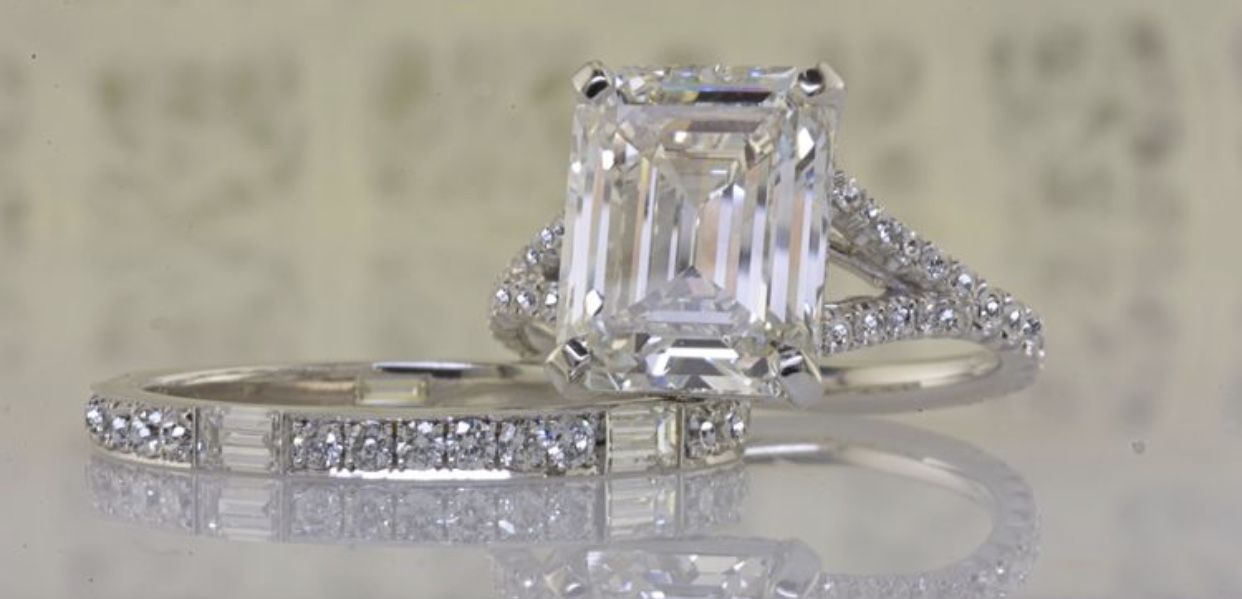 Custom Engagement Ring And Band In Los Angeles California By Peter Norman Jewelers Custom Engagement Ring Engagement Rings Jewelry
