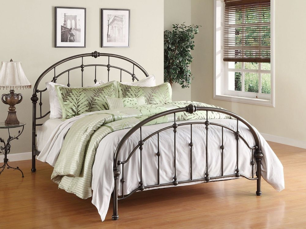 Queen Metal Bed Antique Bronze Iron Arched Victorian
