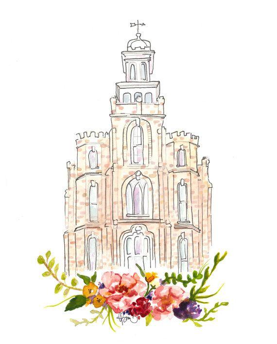 Logan Temple Watercolor In 2019 Logan Temple Watercolor