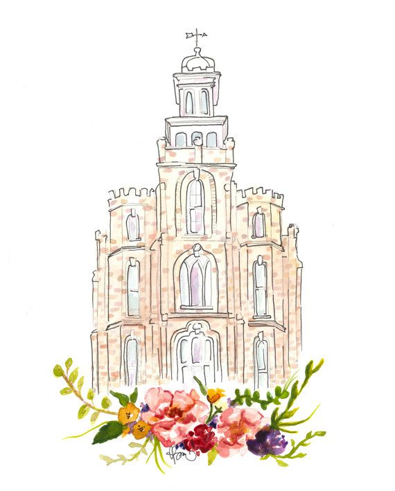 Lds Temple Watercolor Logan Logan Temple By Sweetnsandy On Etsy