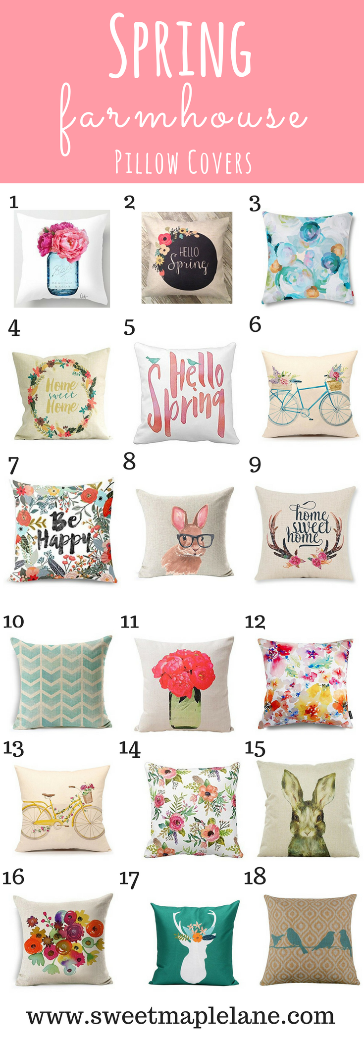 Super cute spring farmhouse pillow covers to brighten up your decor! #style #shopping #styles #outfit #pretty #girl #girls #beauty #beautiful #me #cute #stylish #photooftheday #swag #dress #shoes #diy #design #fashion #homedecor