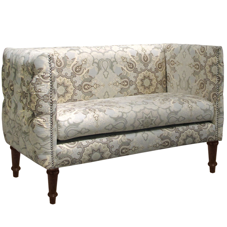 Skyline furniture linen and viscose damask button tufted settee mist blue