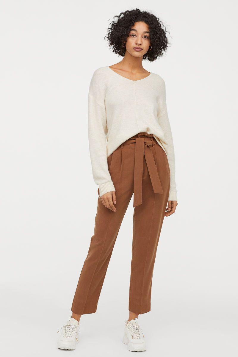 Paperbag Hose Braun Damen H M De Paperbag Hose Braune Hose Outfit Braune Hose