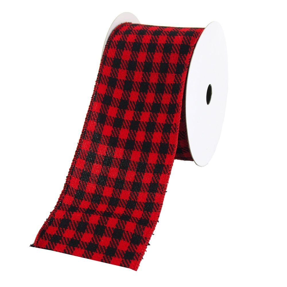 Plaid Checkered Holiday Christmas Velvet Wired Ribbon, Red