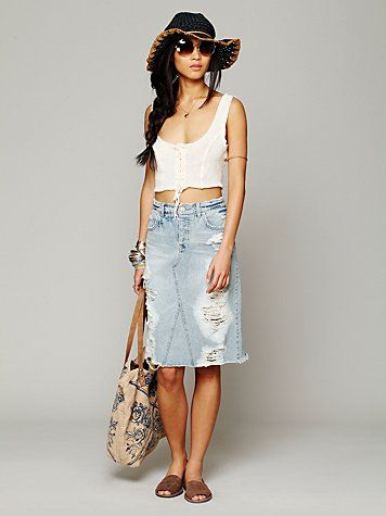 Free People LA Lady Denim Skirt  ee1211e7ee0