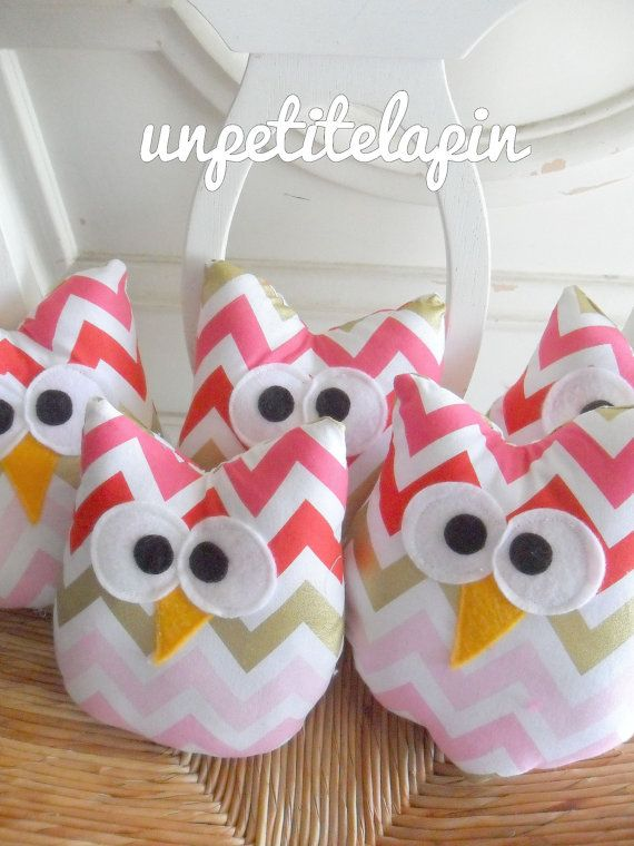Pink Chevron Owl Favors 5 Plush Owls for Unique  by unpetitelapin