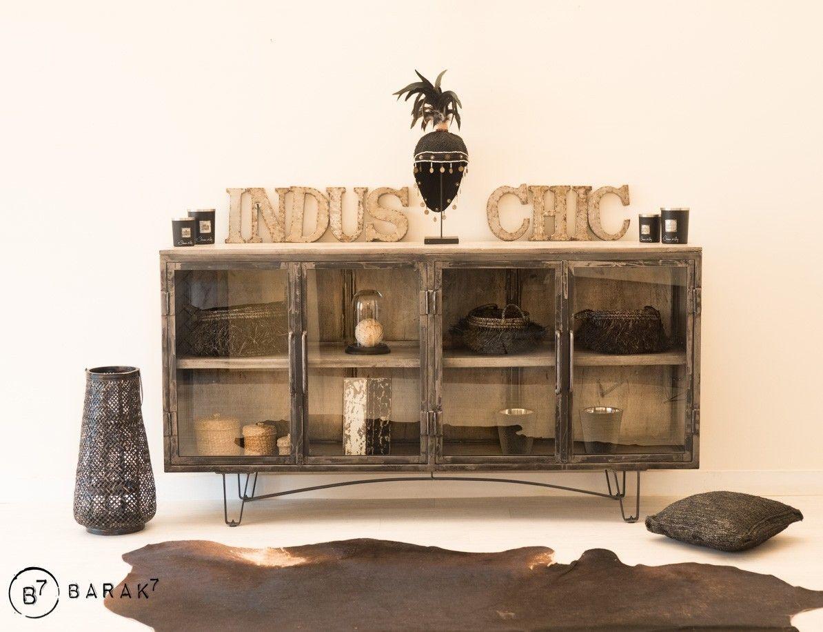 Buffet Vitre Industriel Chic Grey En 2020 Mobilier De Salon Meuble Vitre Idees De Decor