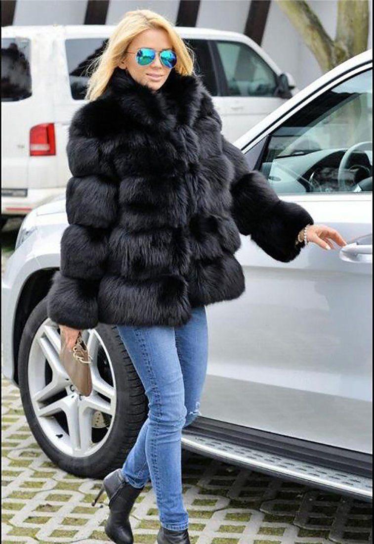 513ca32ecf Women's Coat Faux Fox Fur Plus Size Stand Collar Long Sleeve for Winter