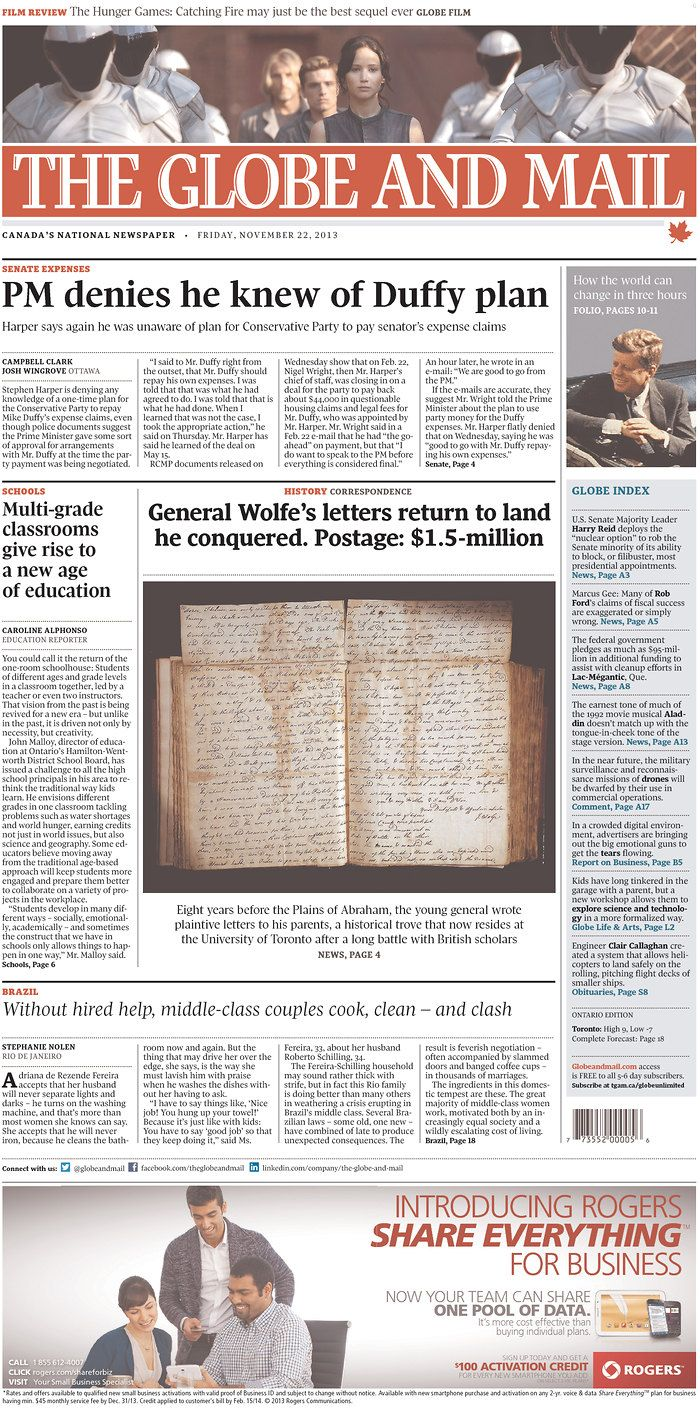 Newseum Today S Front Pages Archive The Globe And Mail Newspaper Layout How To Plan Globe