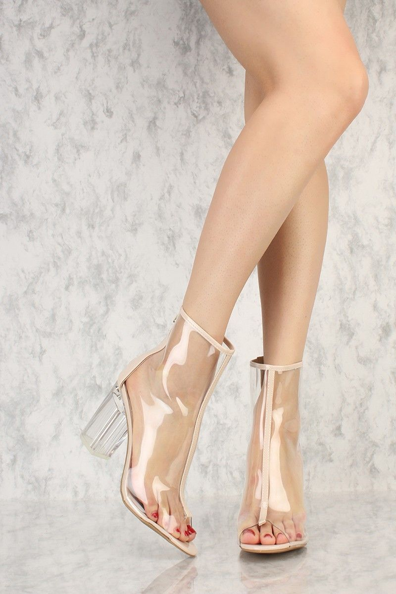 464d5dc0d58 Nude Transparent Peep Toe Clear Chunky Heel Booties Patent | MUST ...