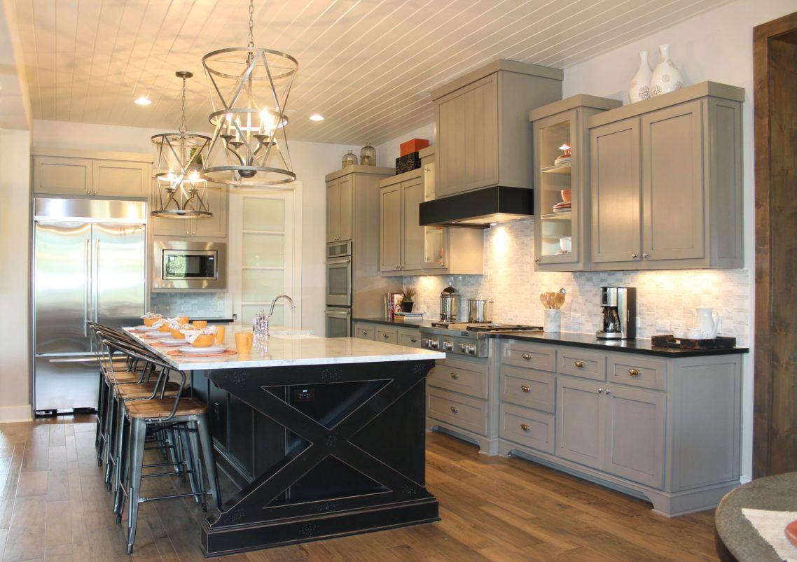 Kirk Says Gray Cabinets Black Island White Counter Tops Kitchen Cabinet Design Grey Kitchen Cabinets Grey Kitchen Island