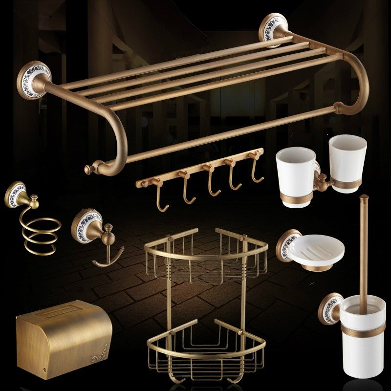 Antique Ceramic Base Brushed Bathroom Accessories Solid Brass Bath ...