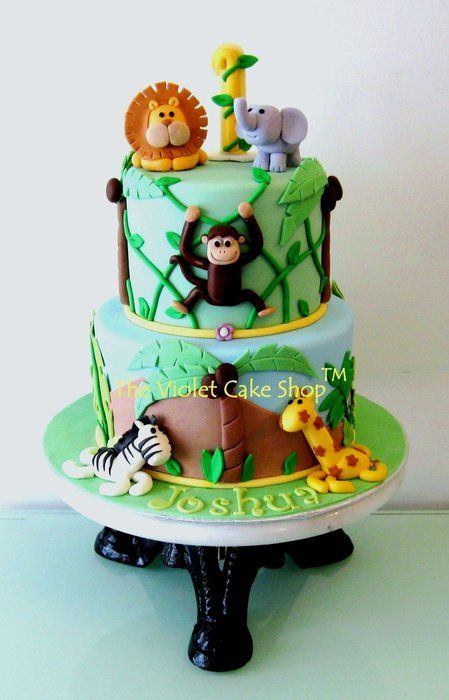 Jungle Monkey Hanging on Vines with Friends - by thevioletcakeshop @ CakesDecor.com - cake decorating website