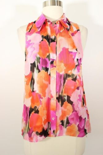 Haute Hippie Bright Multi Color Floral Print Sleeveless Silk Top Size XS | eBay