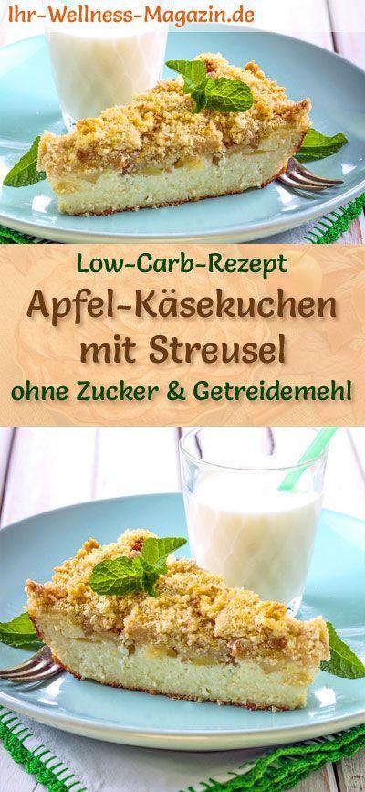 Low Carb Apfel-Käsekuchen mit Streusel - Quarkkuchen-Rezept ohne Zucker