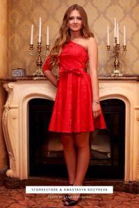 """Красное платье на одно плечо """"Камея"""""""