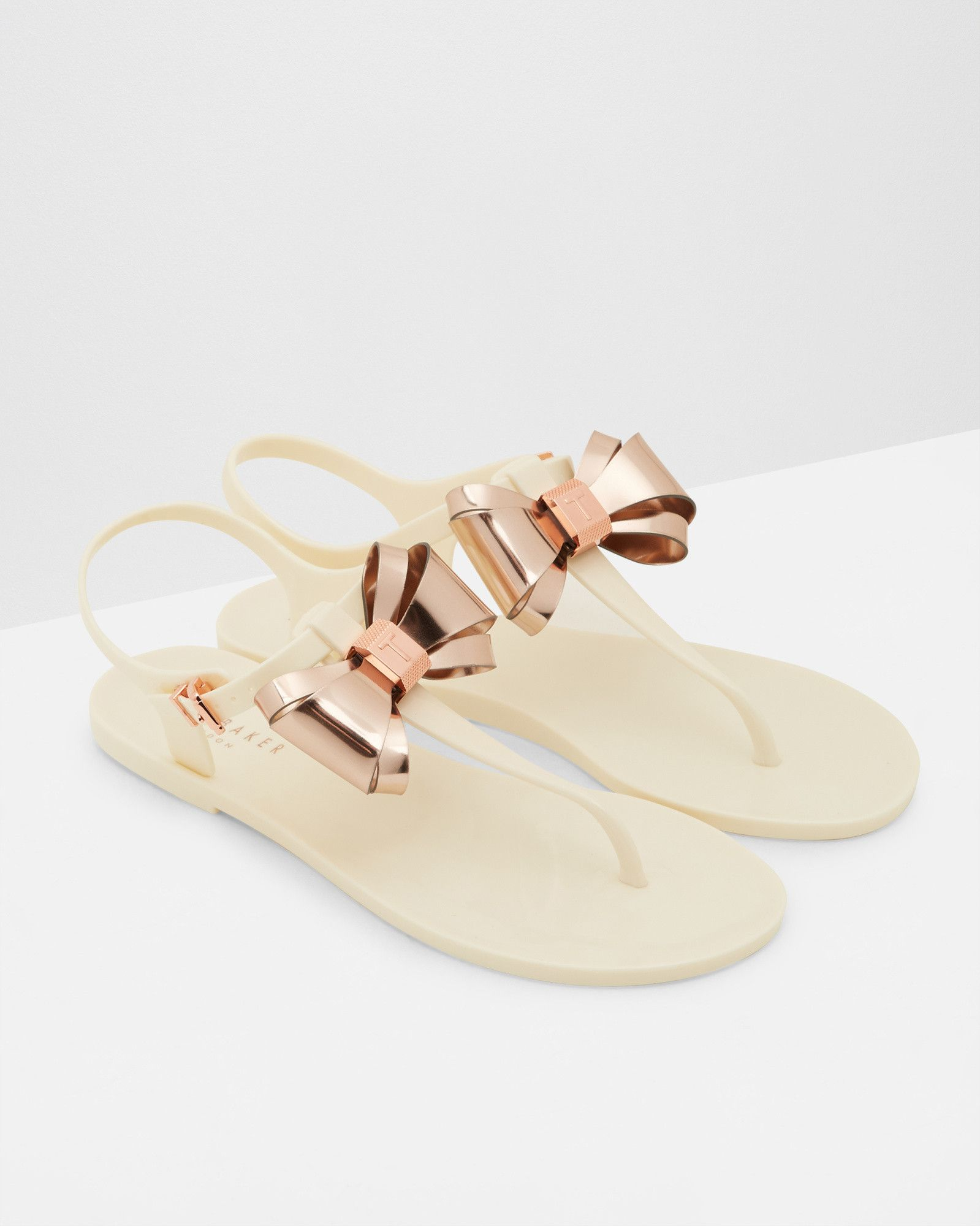 57aa531fb Metallic bow jelly sandals - Cream