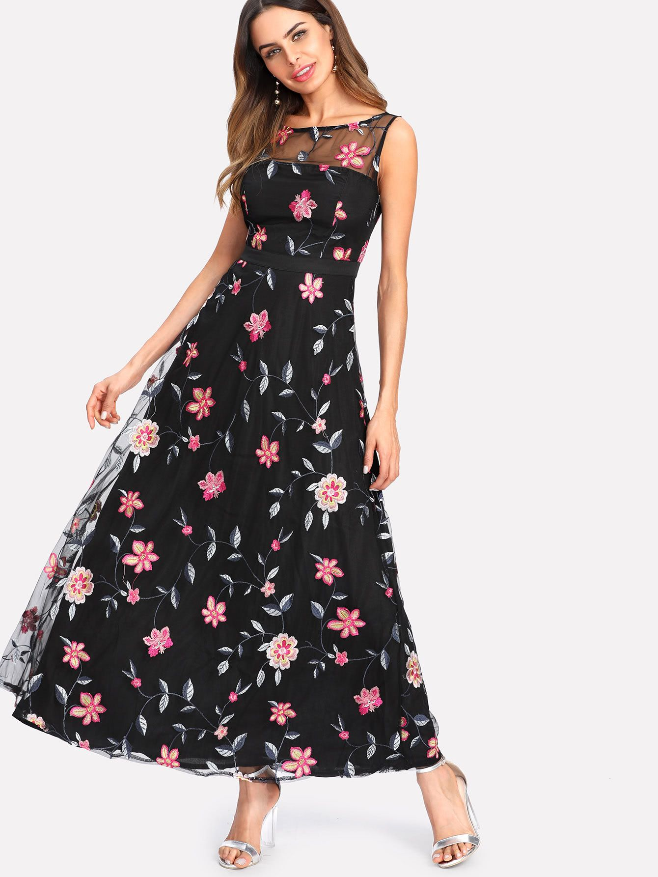 aea2da1608 Shop Embroidery Mesh Overlay Flowy Dress online. SheIn offers Embroidery  Mesh Overlay Flowy Dress & more to fit your fashionable needs.