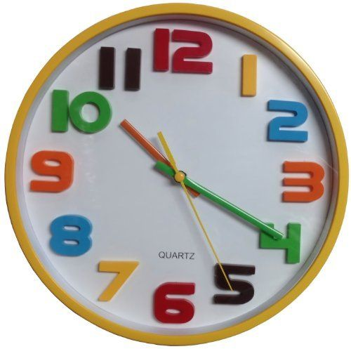 Primary Colors Round Yellow Wall Clock With Rainbow And White Face With Secondhand 10 Inches By Artworks Home A Yellow Wall Clocks Wall Clock Kids Wall Clock