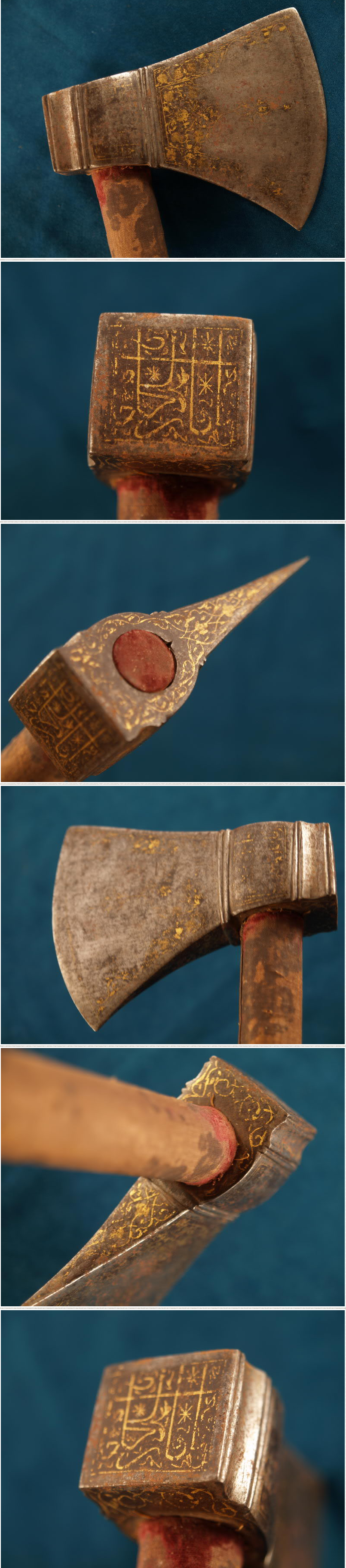 Indian (Mughal) tabar zin (saddle axe), 18th century,  steel head with much of the gold koftgari preserved,  original shaft retains its brown velvet, which is now stained, 25 inches in length,  the cutting edge of the head is 5 inchs long.