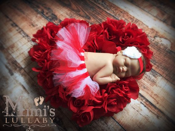 Newborn Red and white Valentine's day tutu with by mimislullaby