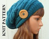 "PATTERN #32: Womens Knit Slouchy Hat embellished with a 2"" natural wood button, Size Teen/Adult - Instant Download"