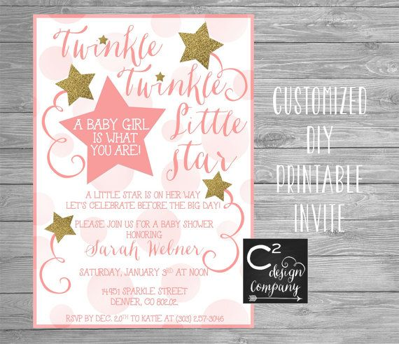pink gold twinkle twinkle baby shower invitation