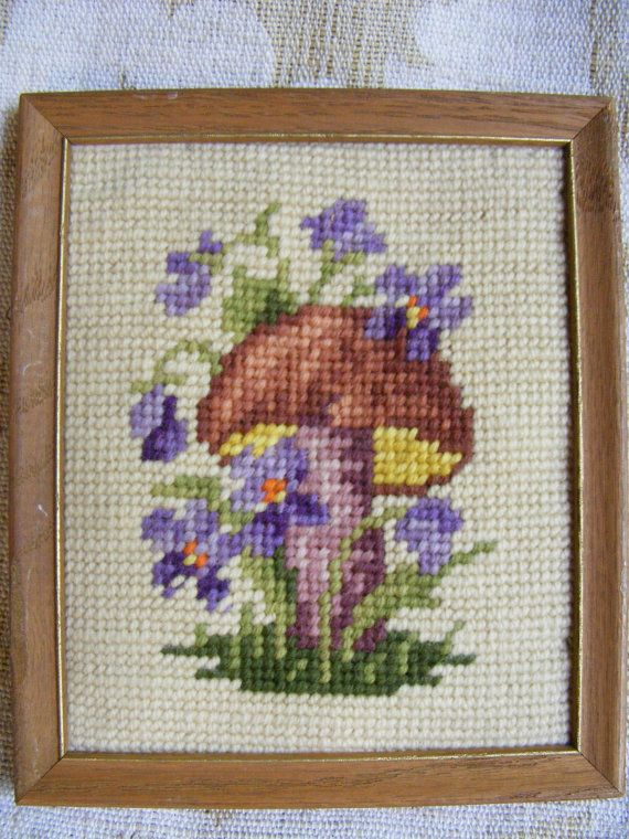 Vintage MUSHROOM & VIOLET Needlepoint - Framed, Small, Toadstool, 60s, Woodland, Needlework