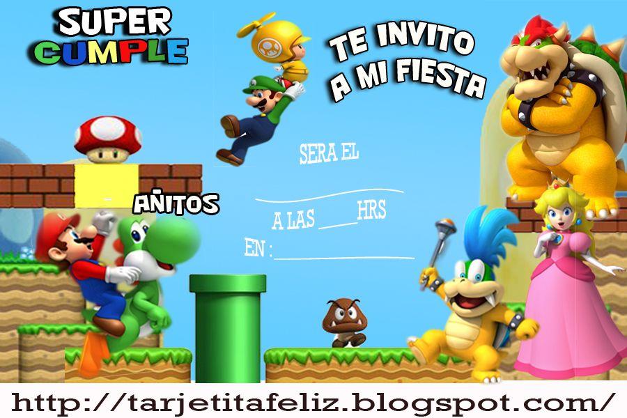 Invitaciones De Cumpleaños De Mario Bros Para Descargar Gratis 18 en HD Gratis WoW Pinterest