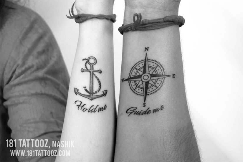 Anchor and compass with quote hold me guide me tattoo for couple on wrist at 181 tattoo studio Nashik. Best place to have couple tattoo...