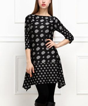 Look what I found on #zulily! Black & Gray Abstract Dot Sidetail Dress by Reborn Collection #zulilyfinds