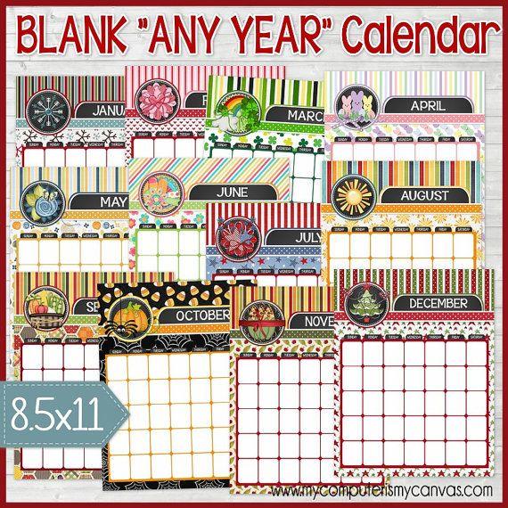 Blank ANY YEAR Monthly Calendars, Dry Erase Calendar, Printable ...