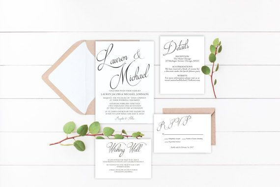 Wedding Invitation Suite Printable Calligraphy by EmmyPaperie
