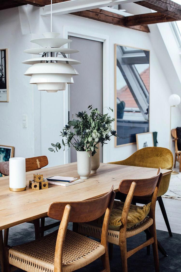 A Charming Copenhagen Loft With Mid Century Classics Iddesign Modern Farmhouse Dining Mid Century Dining Room Farmhouse Dining Room Charming scandinavian dining room