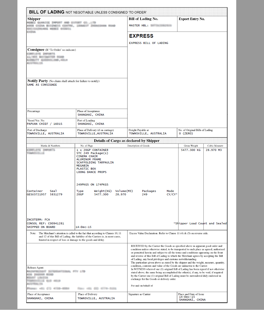 example of bill of lading document used for import export