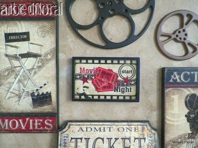 large wooden movie reel film wooden wall decor plaque burgundy home theater on ebay - Home Theater Decor