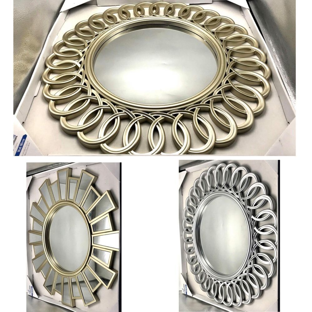 Decorative Wall Mirror Round Silver Or Gold Home Decor 3d Frame