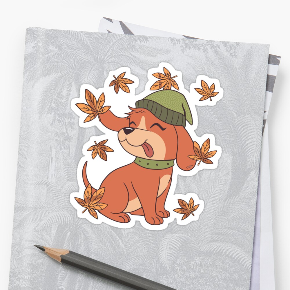 'FALL DOG CUTE PUPPY AUTUMN LEAVES' Sticker by esitostore #autumnleavesfalling