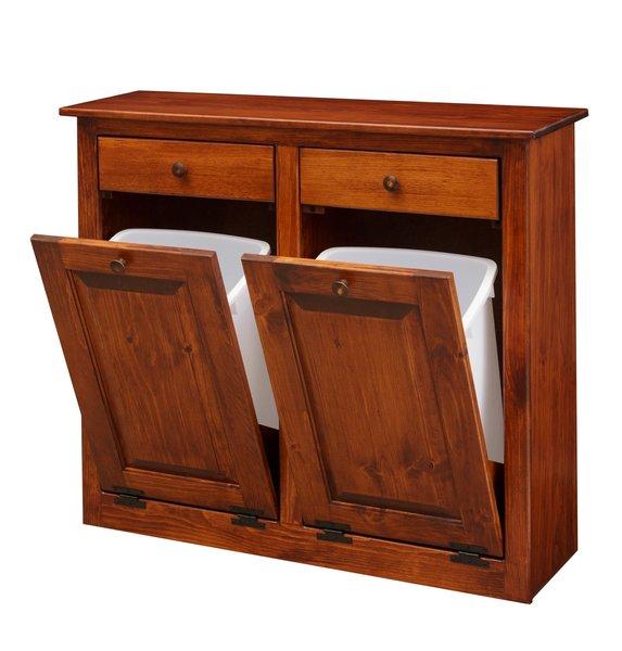 Amish Double Tilt Out Trash Cabinet Trash Can Cabinet Cabinet Wood Furniture Plans
