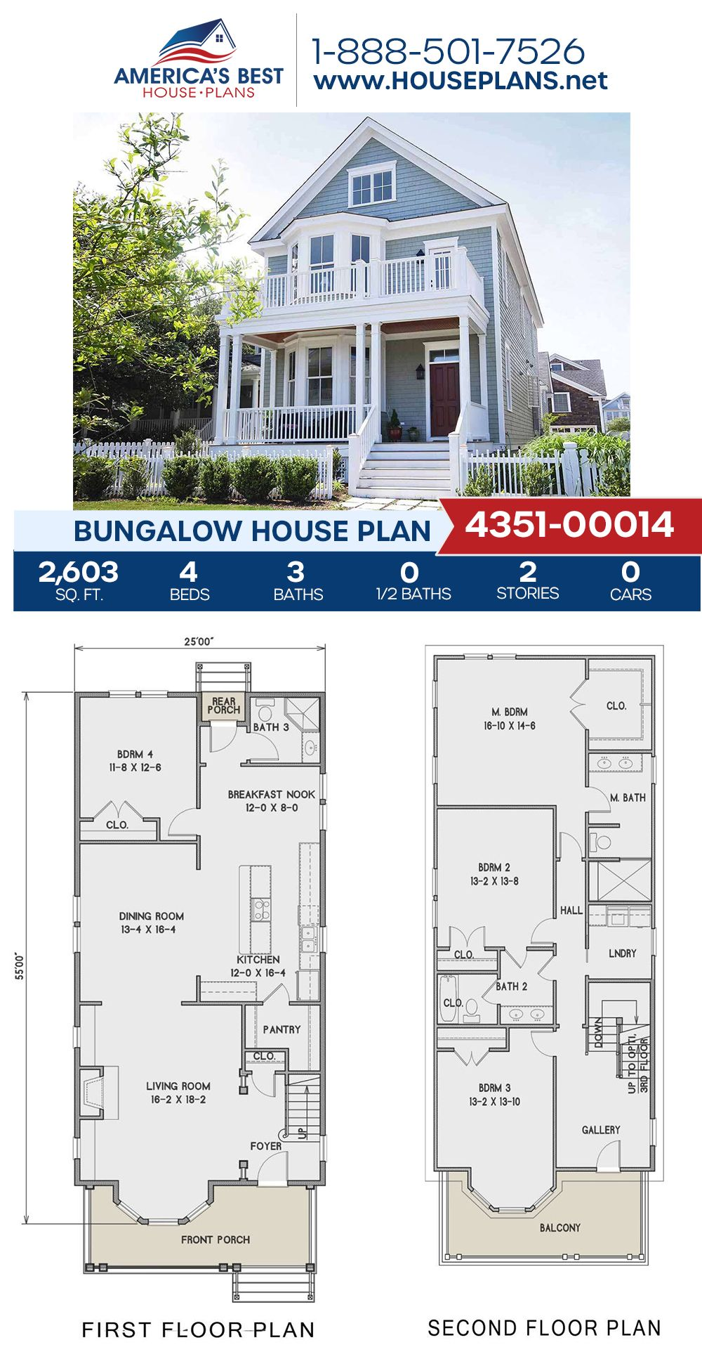House Plan 4351 00014 Bungalow Plan 2 603 Square Feet 4 Bedrooms 3 Bathrooms In 2020 Bungalow House Plans House Plans Best House Plans