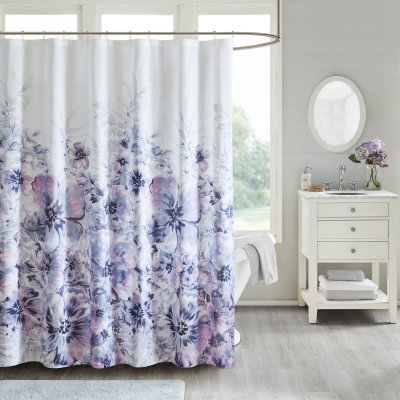 Madison Park Enza Floral Printed Cotton Shower Curtain Purple