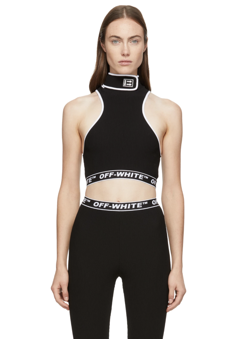 e30455a4fc92 Off-White Black Cannette Turtleneck Tank Top - Sleeveless ribbed stretch  nylon jersey tank top