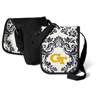 Georgia Tech Yellow Jackets Black Damask Paisley Print GT Logoed Hipster Bag