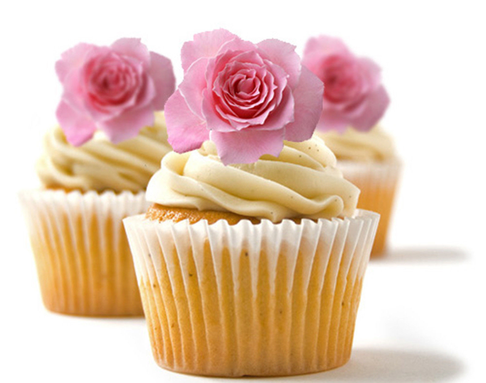 24 edible rice paper cup cake topper decorations rose