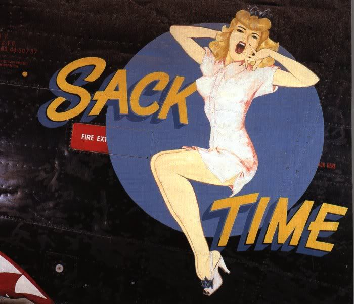 """""""Sack Time"""" from the Confederate Air Force Collection.  This collection of nose art panels came to the CAF from Minot Pratt, the general manager of the company that was scrapping planes at the boneyard at Walnut Ridge, Arkansas.  He had ordered his men to cut out and save the most interesting nose art, which he was supposedly going to put up as a fence around his property.  This never happened and he donated the pieces to the CAF in the 1960's."""