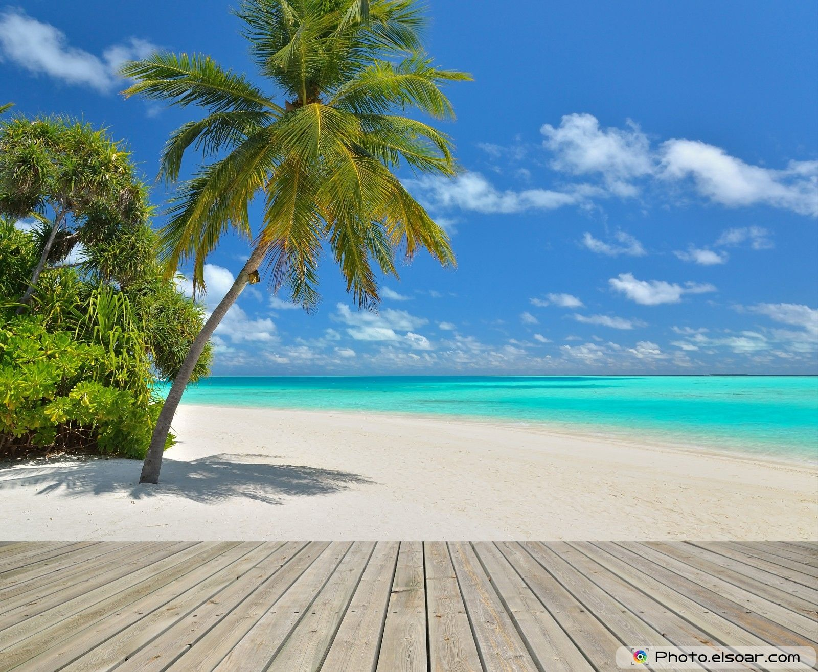 Tropical paradise beach with empty wooden pier Scenic