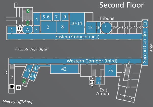 Map Of The Second Floor Of The Uffizi Uffizzi Gallery