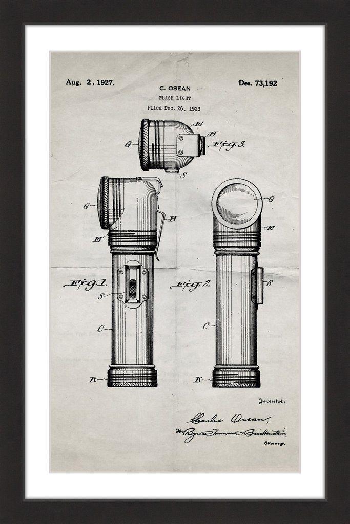Flashlight 1923 old paper blueprint art pinterest flashlight flashlight 1923 old paper marmont hill malvernweather Choice Image