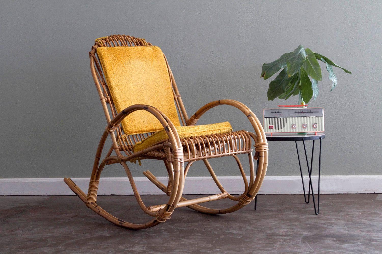 Sedie Rattan ~ Franco albini whicker rattan rocking chair via etsy home