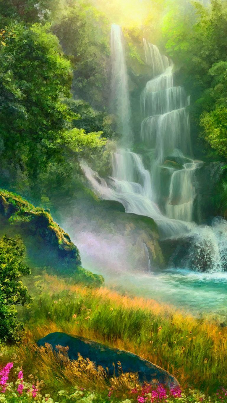 Waterfall, Water resources, Natural landscape, Body of